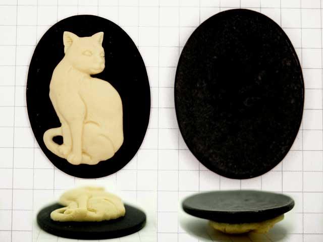 CS442JF 40×30 アクリルカメオ 猫 黒