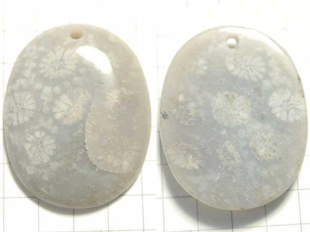 STK190T 27.5×21.5 オーバル 菊目石 1穴付